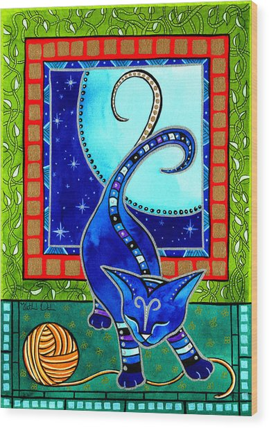 Aries Cat Zodiac Wood Print
