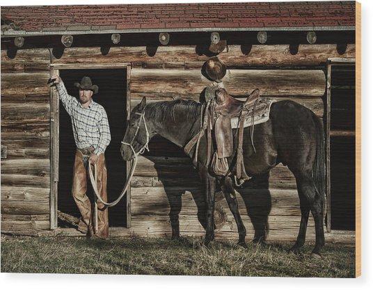 Arizona Cowboy Wood Print