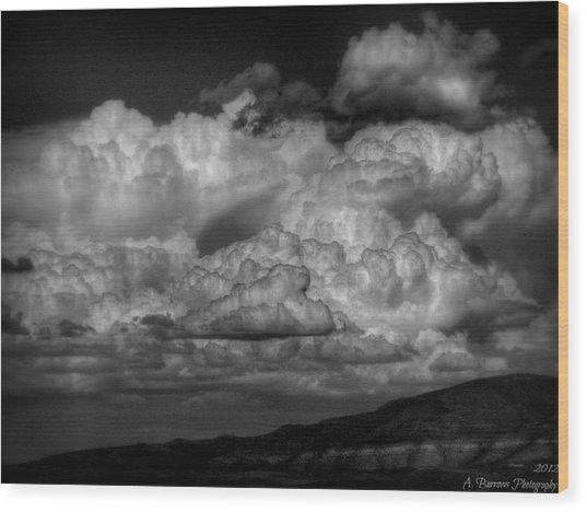 Arizona Monsoon Black And White Wood Print