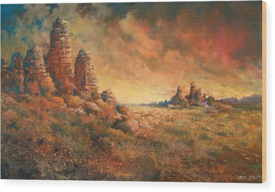 Wood Print featuring the painting Arizona Sunset by Andrew King