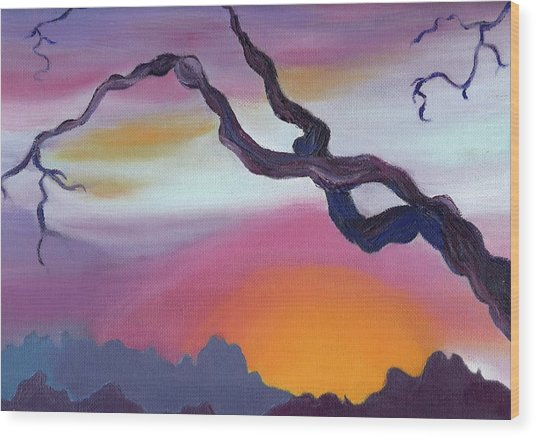 Arizona Sunset Wood Print by Suzanne  Marie Leclair