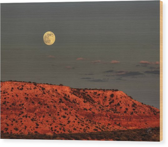 Wood Print featuring the photograph Arizona Supermoon 001 by Lance Vaughn