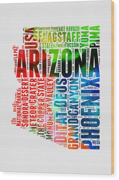 Arizona Watercolor Word Cloud Map  Wood Print
