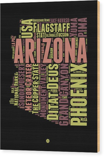 Arizona Word Cloud Map 1 Wood Print