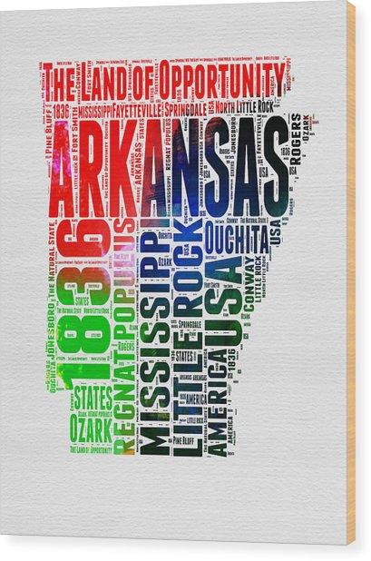 Arkansas Watercolor Word Cloud  Wood Print