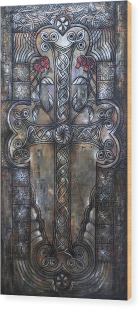 Armenian Cross Stone Wood Print
