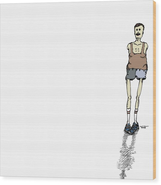Armless Man With Short Shorts Wood Print by Karl Addison