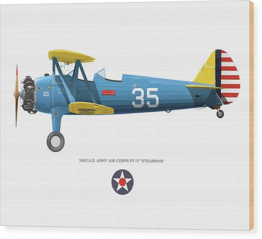 Army Air Corps Pt-17 Wood Print