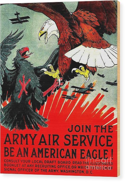 Army Air Service Recruitment Poster 1918 Wood Print