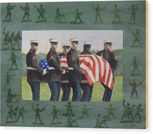 Army Men Wood Print by Haldy Gifford