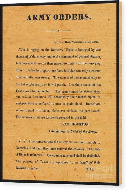 Texian Army Orders Call To Arms Broadside From Sam Houston 1836 Texas Revolution Wood Print