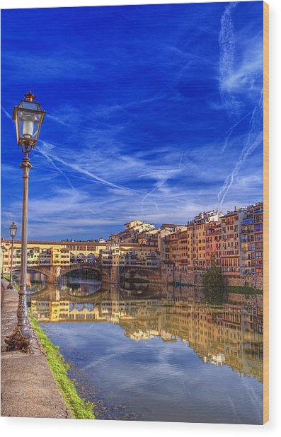 Arno River Florence Wood Print by Clint Hudson