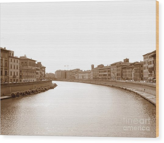 Arno River In Pisa Wood Print