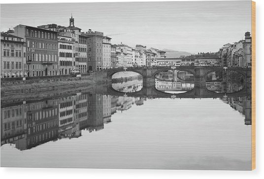 Arno River Reflection, Florence, Italy Wood Print