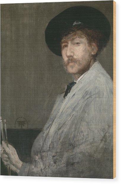 Arrangement In Grey  Portrait Of The Painter Wood Print