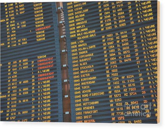 Arrival Board At Paris Charles De Gaulle International Airport Wood Print by Sami Sarkis