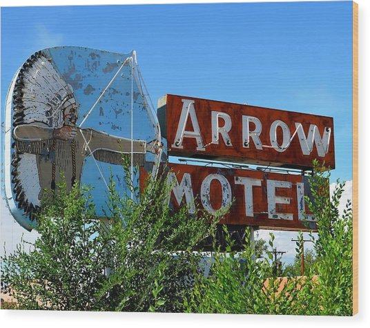 Arrow Motel Wood Print