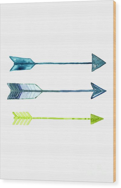 Arrows Watercolor Art Print Wood Print