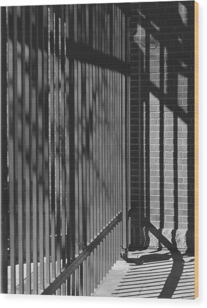 Art And Design Center Security Gate Wood Print by Jim Furrer
