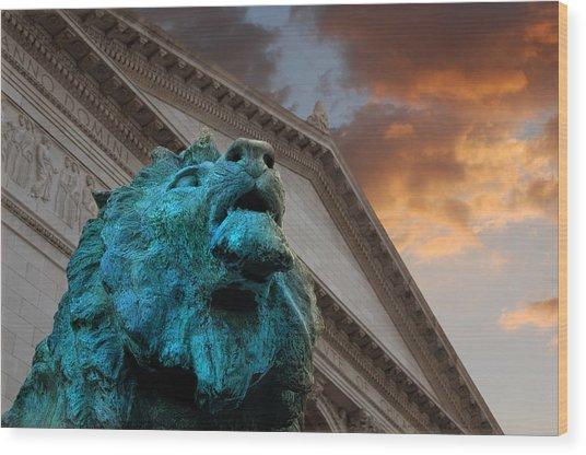 Art And Lions Wood Print