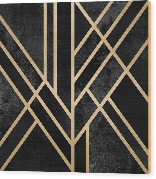 Art Deco Black Wood Print