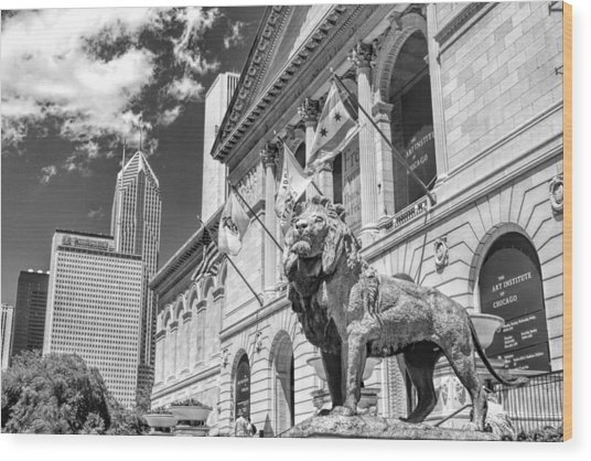 Art Institute In Chicago Black And White Wood Print