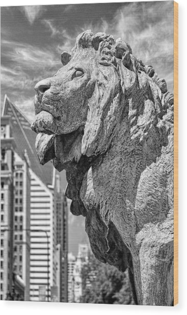 Art Institute In Chicago Lion Black And White Wood Print