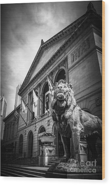 Art Institute Of Chicago Lion Statue In Black And White Wood Print by Paul Velgos