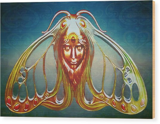 Art Nouveau Butterfly Woman Wood Print