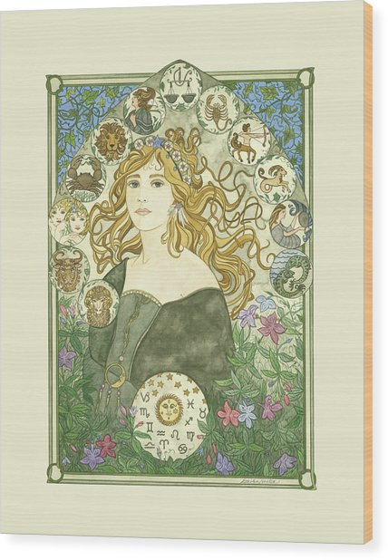 Art Nouveau Goddess Of Astrology Wood Print