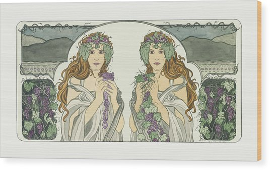 Art Nouveau Pinot Noir Vineyard Wood Print