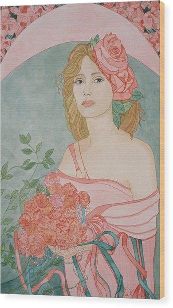 Art Nouveau Roses Wood Print