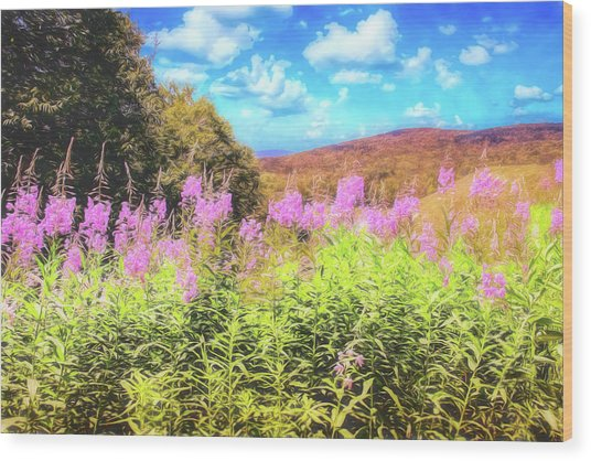 Art Photo Of Vermont Rolling Hills With Pink Flowers In The Foreground Wood Print