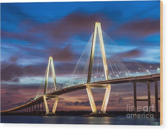 Arthur Ravenel Bridge At Night Wood Print