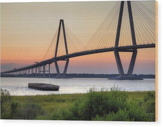 Arthur Ravenel Jr. Bridge Sunset Wood Print