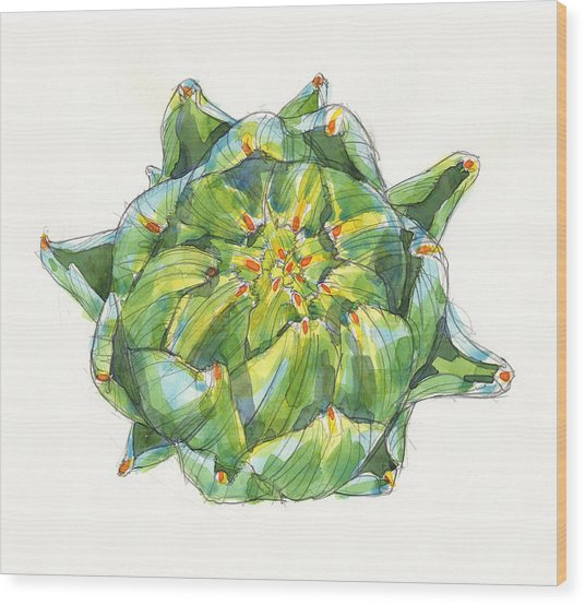 Artichoke Star Wood Print