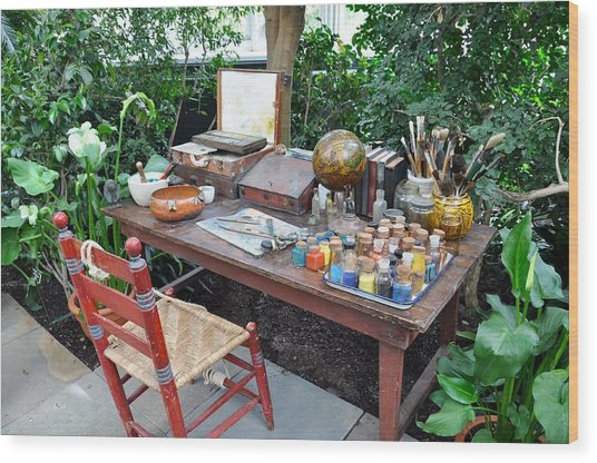 Frida Kahlo's Desk And Chair Wood Print
