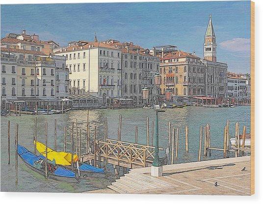 Artist Impression Of Venice Wood Print by Johan Elzenga