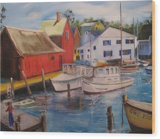 Artist In New England Dock Wood Print by Gloria Condon