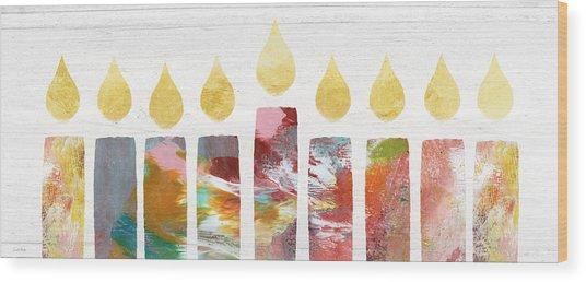 Artists Menorah- Art By Linda Woods Wood Print