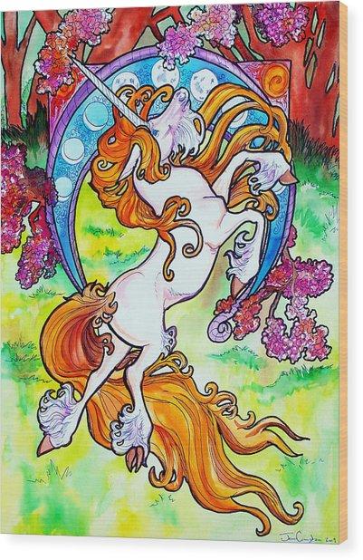 Artsy Nouveau Unicorn Wood Print