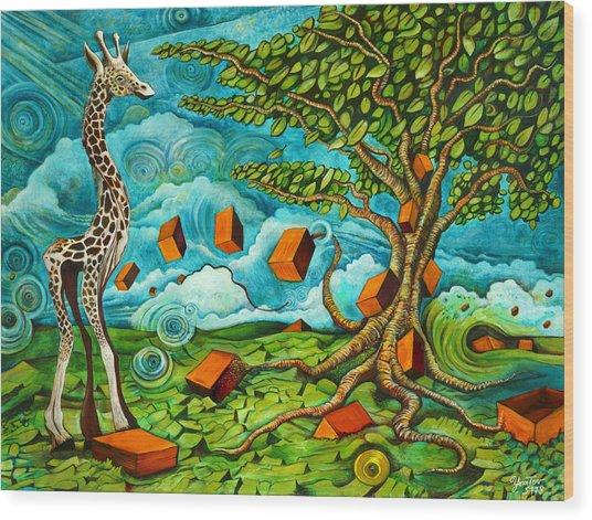 As High As Giraffe Bus Wood Print