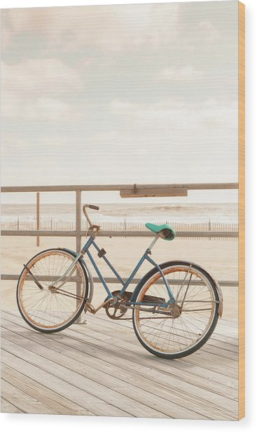 Asbury Park Bicycle Wood Print by Erin Cadigan