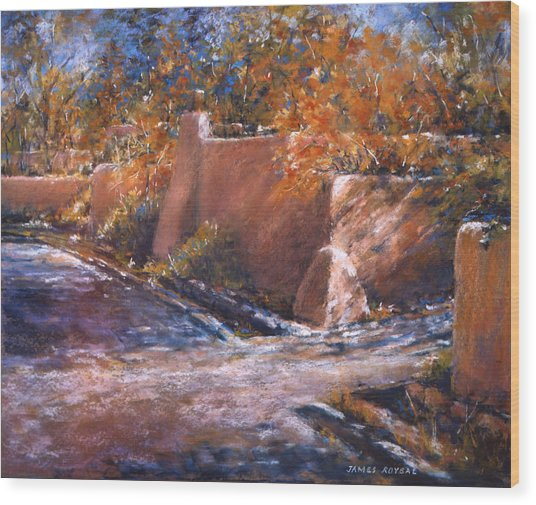 asequia Madre in Fall Wood Print by James Roybal