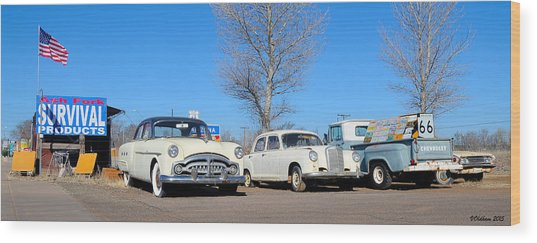 Ash Fork Vintage Cars Along Historic Route 66 Wood Print