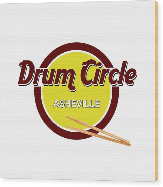 Asheville Drum Circle Logo Wood Print