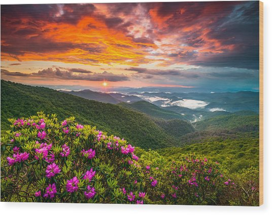 Asheville North Carolina Blue Ridge Parkway Scenic Sunset Wood Print