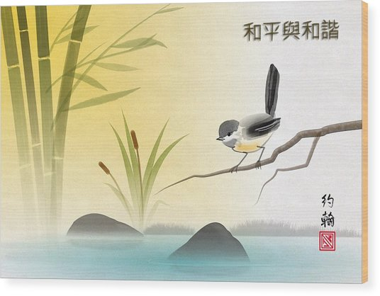 Asian Art Chickadee Landscape Wood Print