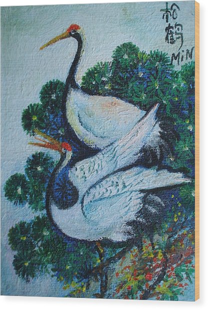 Asian Cranes 1 Wood Print by Min Wang