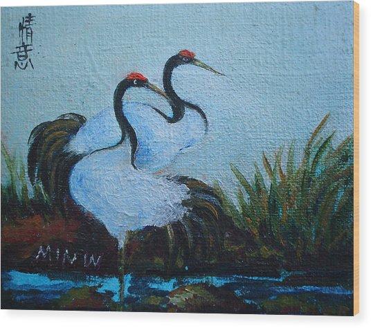 Asian Cranes 2 Wood Print by Min Wang